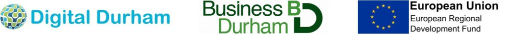 Digital drive, Business Durham and ERDF logos