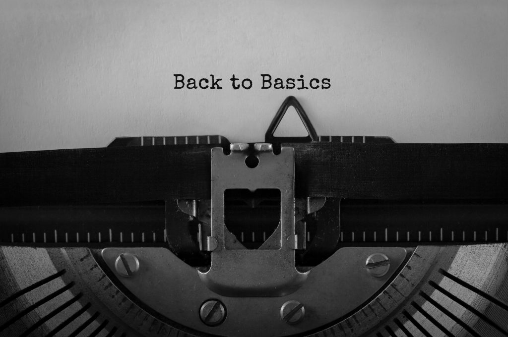 Back to basics typed on piece of paper